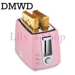 Dwmd Stainless Steel Pemanggang Roti Listrik Rumah Tangga Otomatis Memanggang Roti Pembuat Sarapan Mesin Roti Sandwich Grill Oven 2 Slice