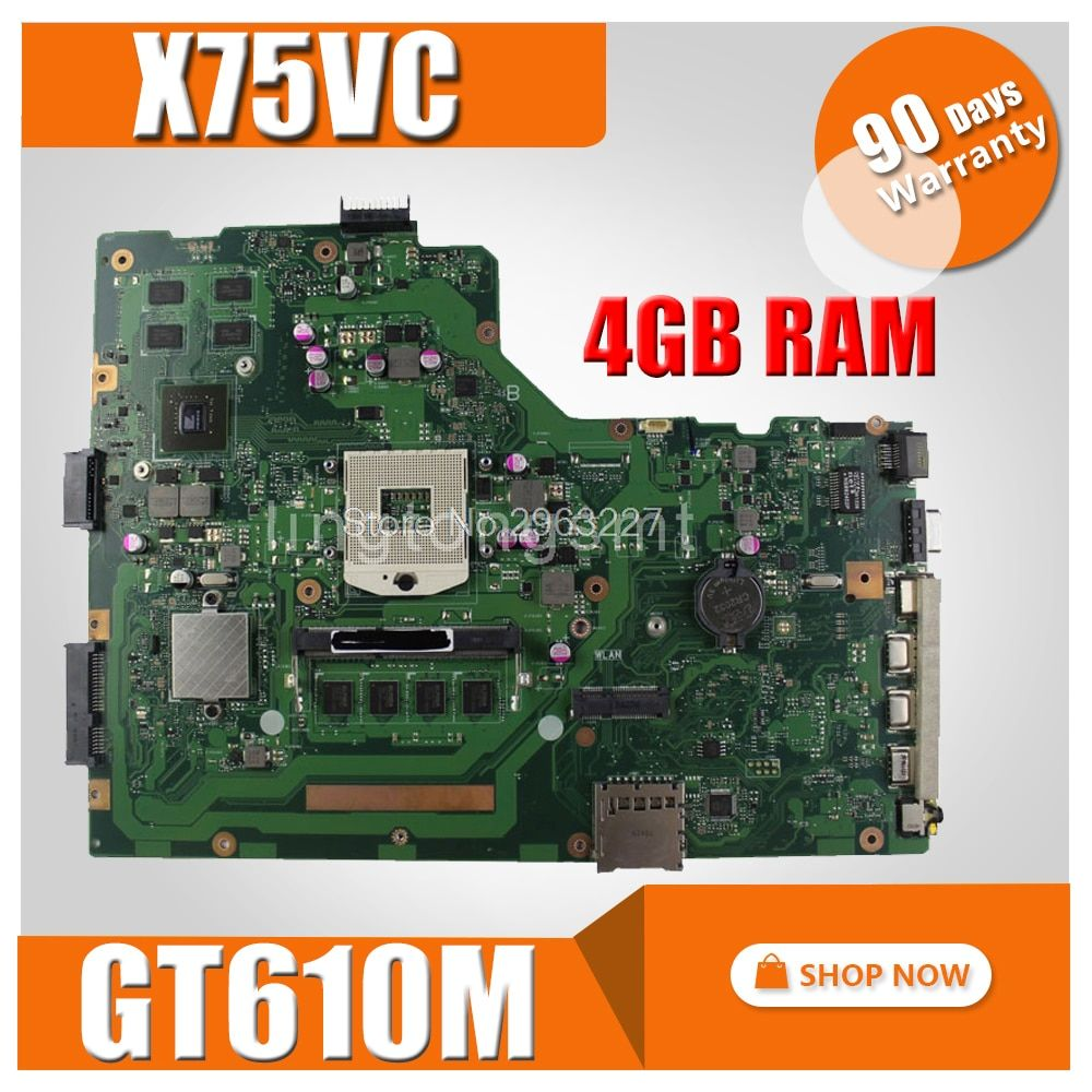 X75VD Motherboard REV 2.0 GT610M 4GB For ASUS X75V X75VC X75VD X75VB X75VB Laptop motherboard X75VD Mainboard X75VD motherboard