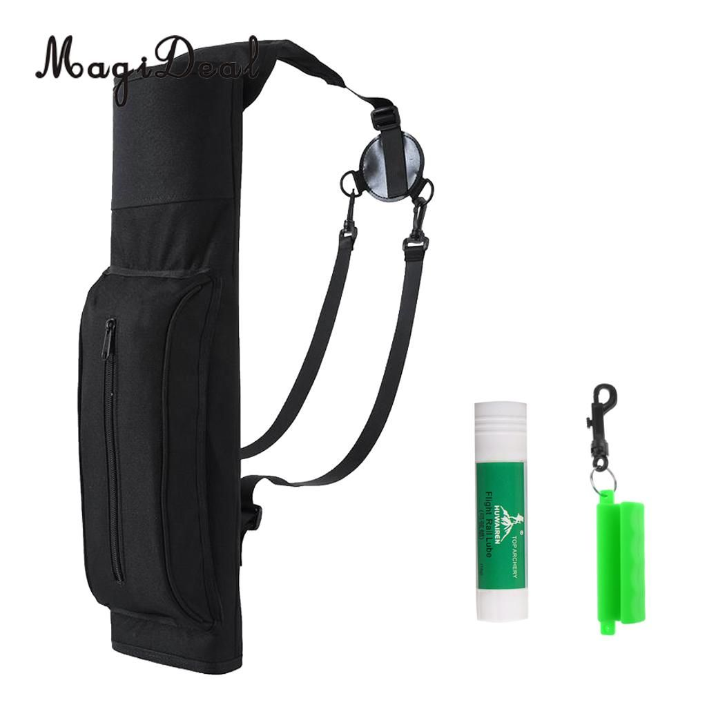 MagiDeal Large Archery Back Quiver Arrow Holder Bag with Arrow Puller & Bowstring Wax
