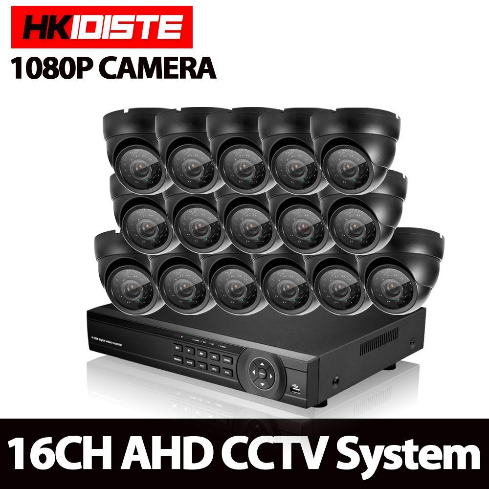 HKIXDISTE CCTV System 16CH AHD Kit HD Dome indoor 2.0mp 1080 P kameras mit IR CUT Heimüberwachungssystem 16 Kanal DVR Kit