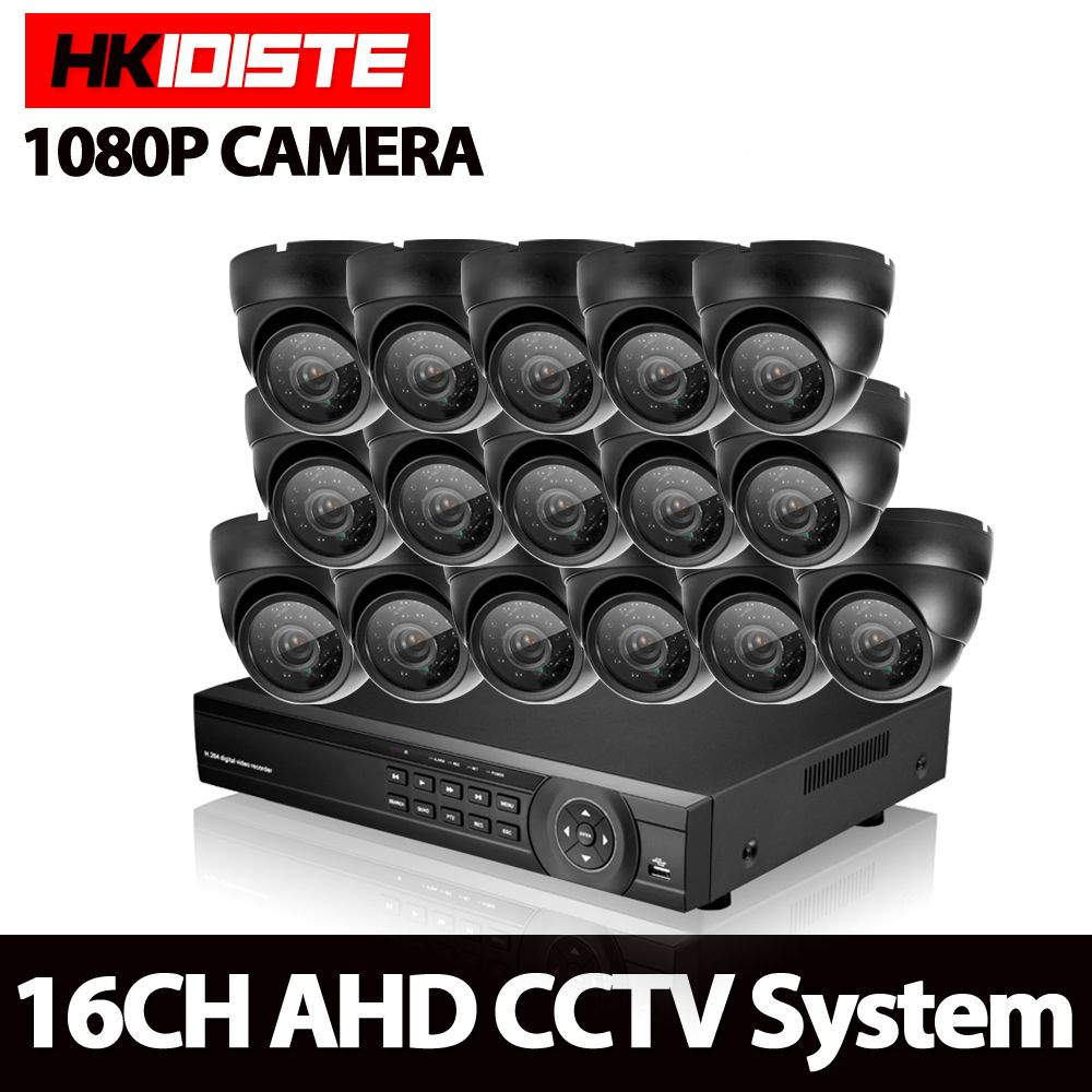 HKIXDISTE CCTV System 16CH AHD Kit HD Dome indoor 2.0mp 1080P Cameras with IR CUT Home Surveillance System 16 Channel DVR Kit