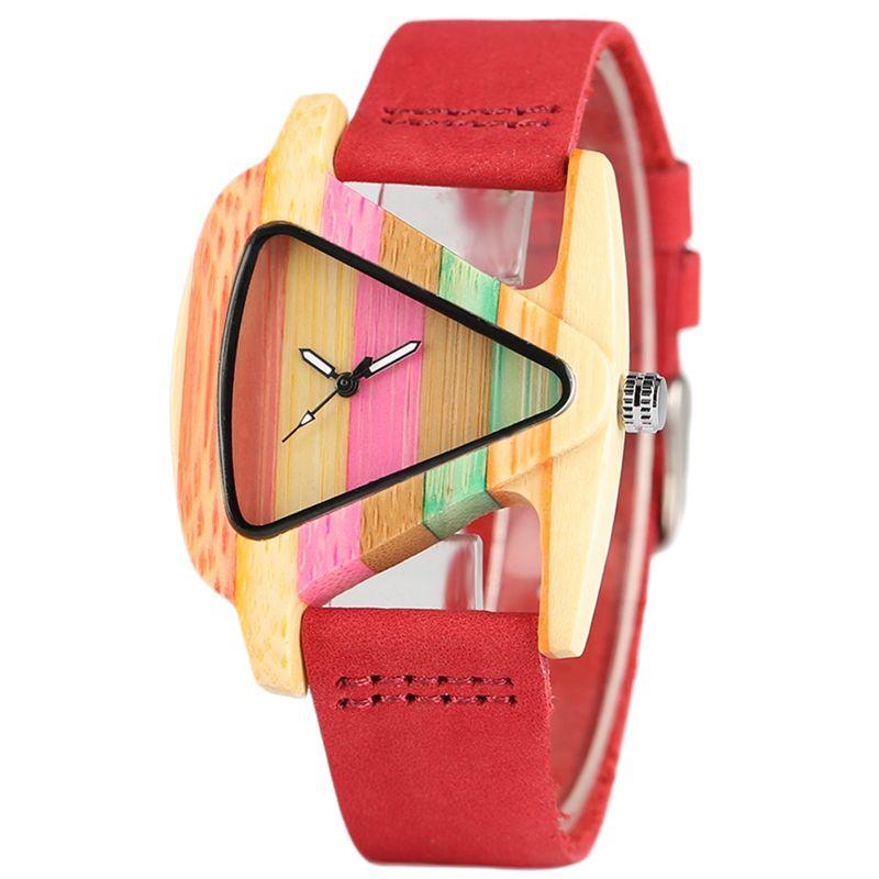 Creative Elegant Women Watch Unique Colorful Wooden Wristwatch Genuine Leather Clasp Gift for Ladies Stylish Quartz Clock reloj