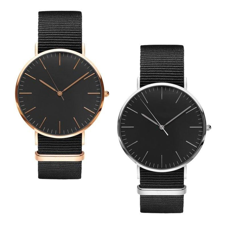 Women's watch 18MM nylon leather strap rose gold silver dial fashion luxury brand watch
