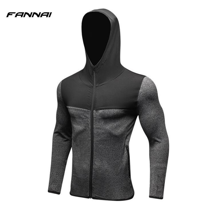 2018 NEUE Mens Laufende Jacken Fitness Sport Mantel Fußball outdoor Training Gym korsett mit kapuze Thin Quick Dry Reflektierende
