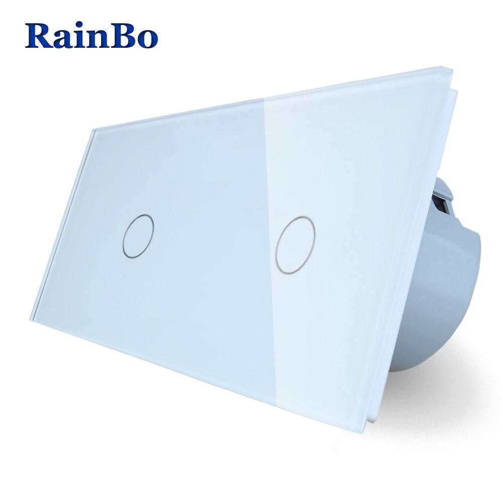 RainBo 2Frame Touch Switch Screen Crystal Glass Panel Switch EU Wall Switch Light Switch 1gang1way+1gang1way A291111CW/B