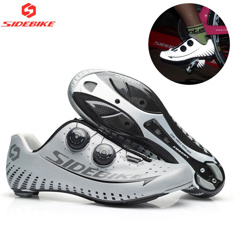 Sidebike 3M Reflectiv Carbon Ultralight Cycling Shoes self-Locking Racing Bike Shoes Road Bike Athletic Riding Shoes Ciclismo