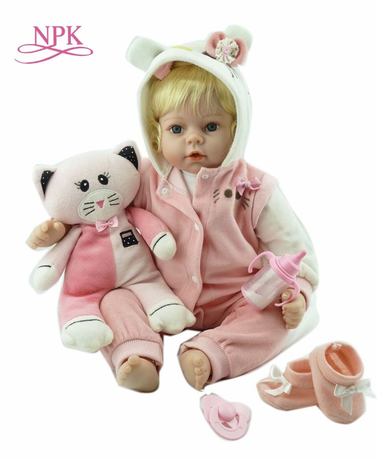 NPK Realistic soft Silicone Baby Reborn Doll girl Vinyl Look Real Fake Baby Toy For Kid Playmate Gift Xmas Present