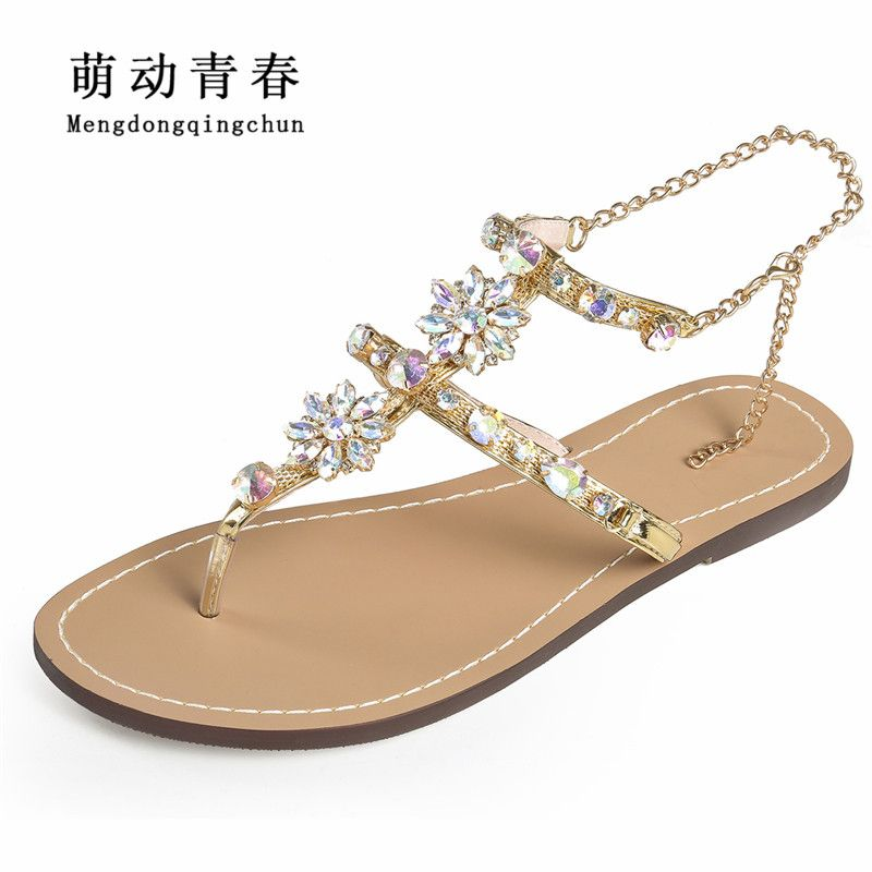 2018 Woman Sandals Women Shoes <font><b>Rhinestones</b></font> Chains Thong Gladiator Crystal Flat Heels Sandals Five Color Plus Size 46