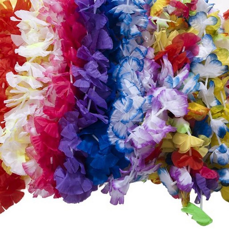 50 PCS Hawaiian Flower leis Garland Necklace Fancy Dress Party Hawaii Beach tropical party Flowers DIY Party Beach Decoration