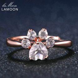 LAMOON Ours de Patte 5mm 100% Naturel Rose Rose Quartz Réglable Anneau 925-Sterling-Silver Fine Bijoux pour Femmes De Mariage RI027-2