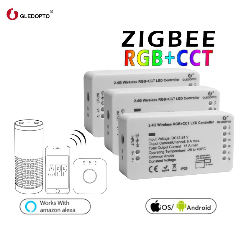 zigbee Zll link smart strip light rgb/rgbw controller <font><b>DC12V</b></font>/24V zigbee rgb APP control compatible with LED ECHO