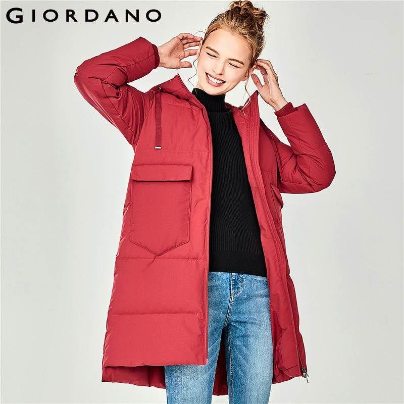 Giordano Frauen Unten Jacke Frauen Maschine Waschbar Kapuze Lange Stil Unten Jacke Frauen Zip Verschluss Schräg Tasche Doudoune