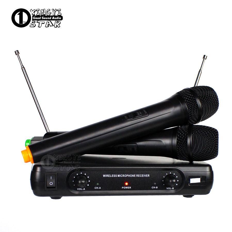 Professionnel Sans Fil Microphone Karaoké Système Double De Poche Micro Sans Fil Récepteur Mike Pour Mélangeur Audio Chanter Microfone Sem Fio