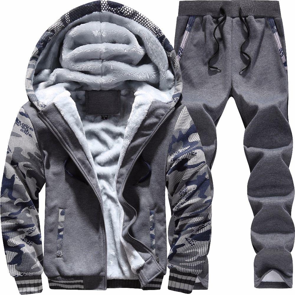 Bolubao новые зимние Для мужчин комплект с флисовой подкладкой толстый теплый спортивный костюм + Брюки для девочек камуфляж мужской с капюшон...