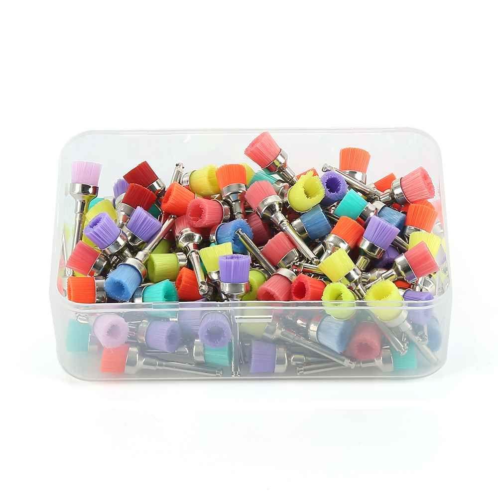 100 Unids/lote Dental Lab Materiales de Colores Nylon Latch Piso Pequeño Pulido Pulidor Prophy Cepillos Dentista Productos Al Por Mayor