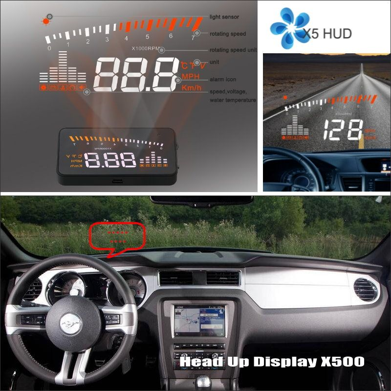 Car HUD Safe Drive Display For Ford Mustang GT / CS 2005~2014 - Refkecting Windshield Head Up Display Screen Projector