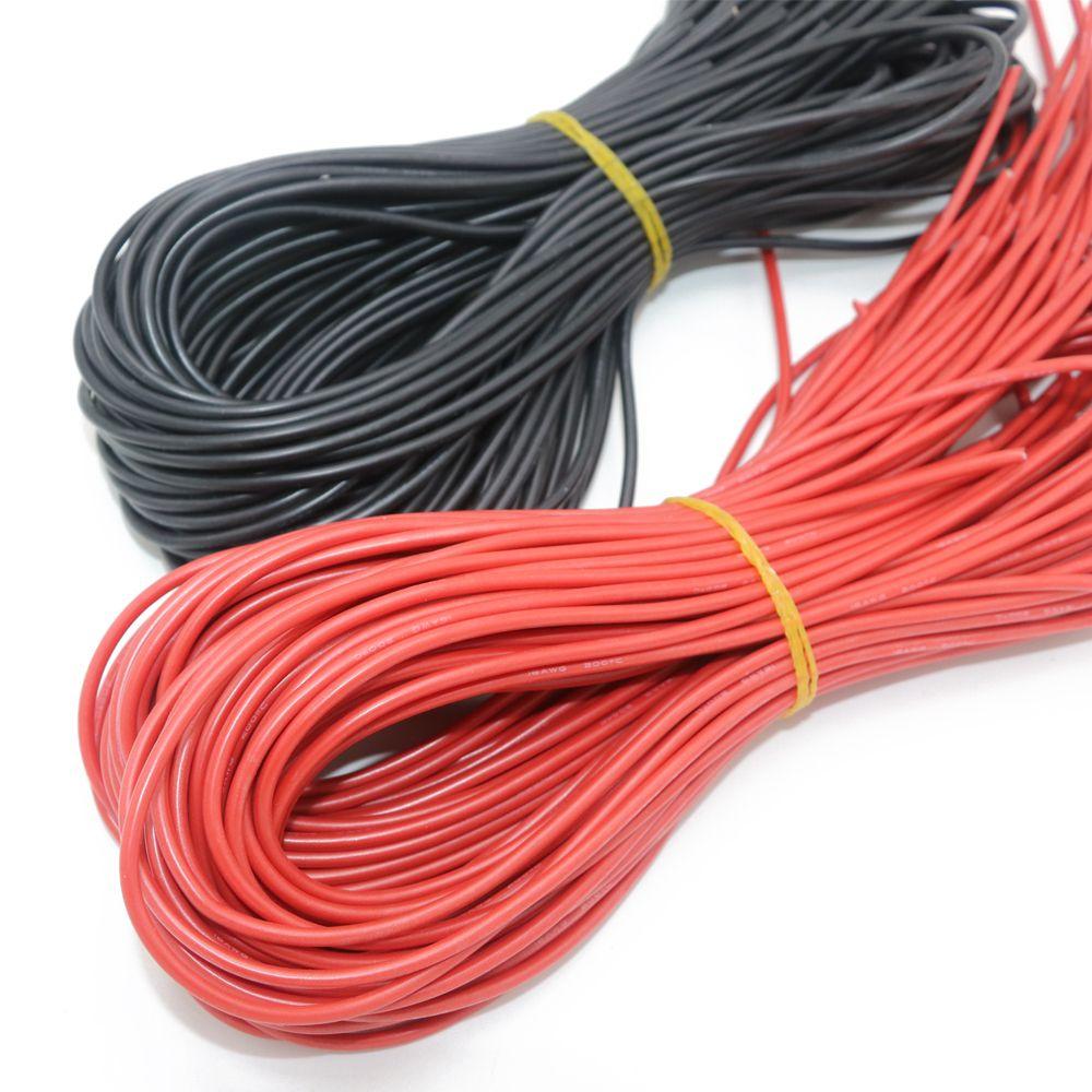 Fil silicone spécial haute température 10 12 14 16 18 20 22 24 26 AWG (5 m rouge et 5 m noir) 10 mètre/lot