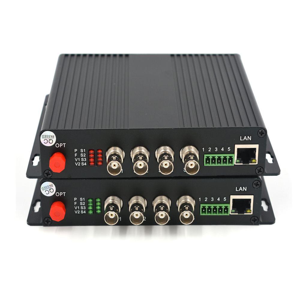 Hohe Qualität 4 Kanäle HD SDI Video/Audio/Ethernet über Glasfaser Medien Konverter Sender Empfänger für HD SDI CCTV