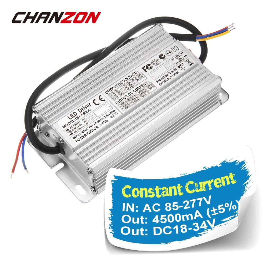 Constant Current LED Driver 4500mA 6-10x15 DC18-34V 4.5A 120W 150W IP67 AC100-240V Waterproof Power Supply Lighting Transformer
