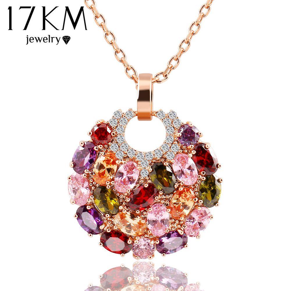 17 KM de Moda Cadena de Eslabones de Aleación Colorida Redonda de Cristal Colgante de Collar de Diseño de Moda Flor Circón Joyería Collares Para Las Mujeres