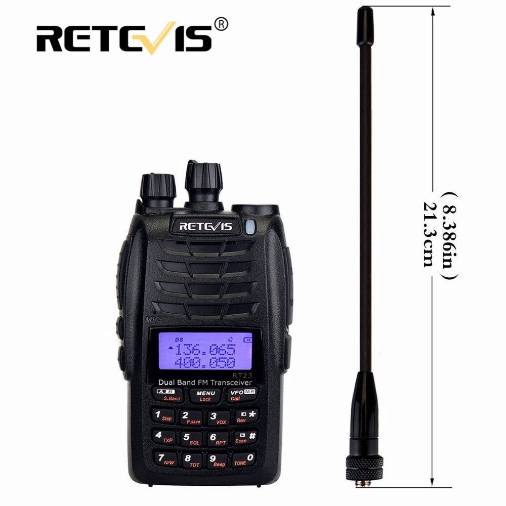 Retevis RT23 Dual Receive Walkie Talkie Dual PTT 5W 128CH VHF UHF Dual Band 1750Hz DTMF Scan FM Radio Cross-Band Repeater Func