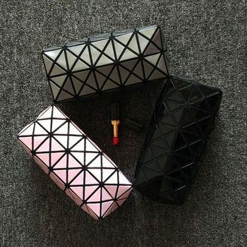 new fashion women Cosmetic bag cases Geometric folding make up bag quality PVC organizer makeup case beauty bags