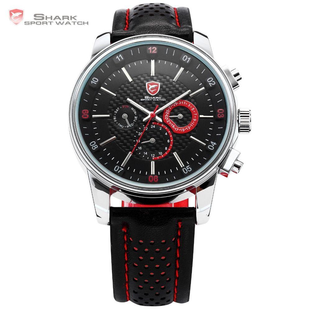 Pacific Angel SHARK Sport Watch Luxury Calendar Quartz Men Male Watches Fashion Red Black Leather Band Relogio Masculino /SH094