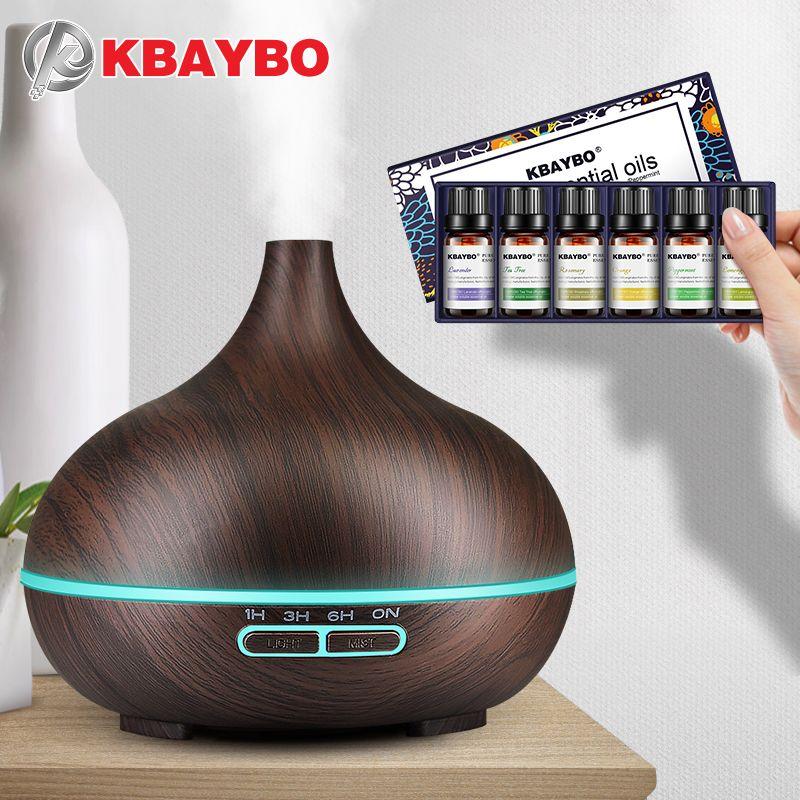 300 ml Ultrasons Aromathérapie Humidificateur 6 Sortes D'huile Essentielle pour Diffuseur Mist Maker Aroma Diffuseur Brumisateur LED Lumière