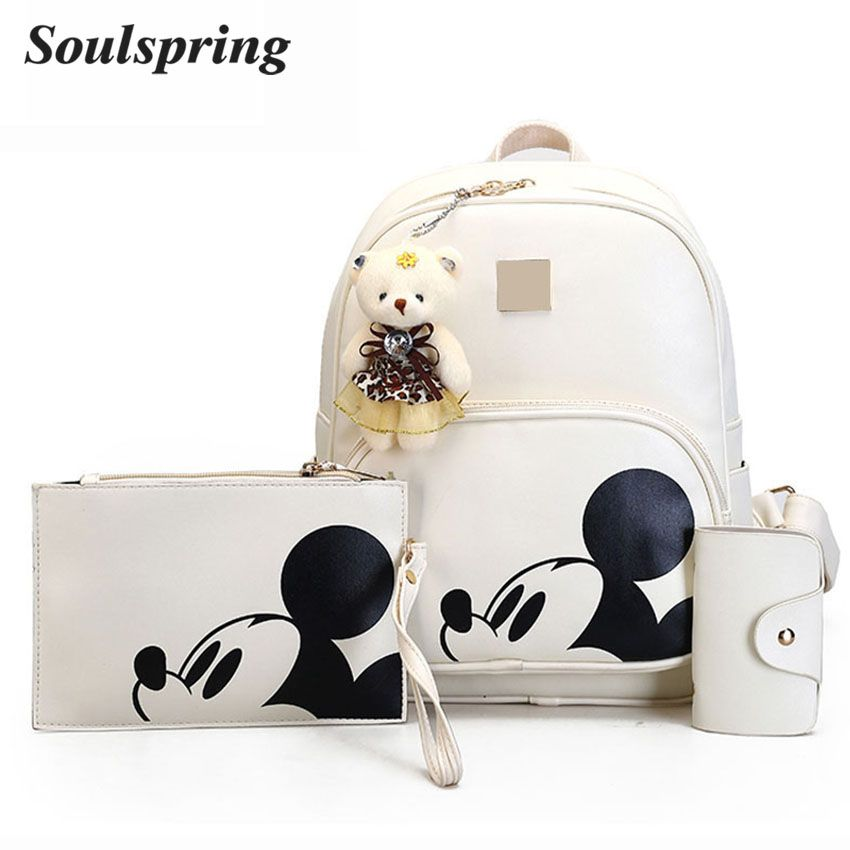 Cartoon 3Pcs/Set Backpack School Bags For <font><b>Girls</b></font> Composite Leather Backpack Women Cute Mickey Backpacks And Purse Bear Sac A Dos