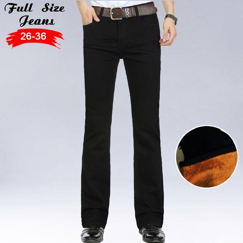 Fashion Winter Warm Mens Black Thicken Velvet Boot Cuts Casual Jeans Men Skinny Flared Jeans Bell Bottom Fleece Jeans 3Xl 4Xl 36