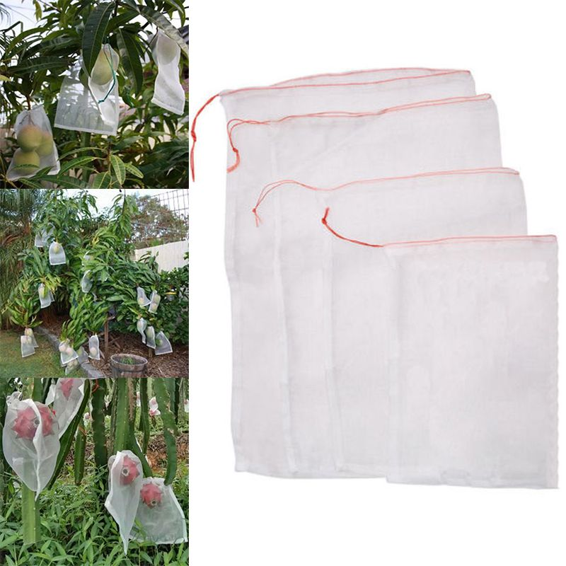 50Pcs Garden Plants Vegetable Fruit Protection Bag Anti Bird Drawstring Netting Mesh Bag for Agriculture Pest Control Tools