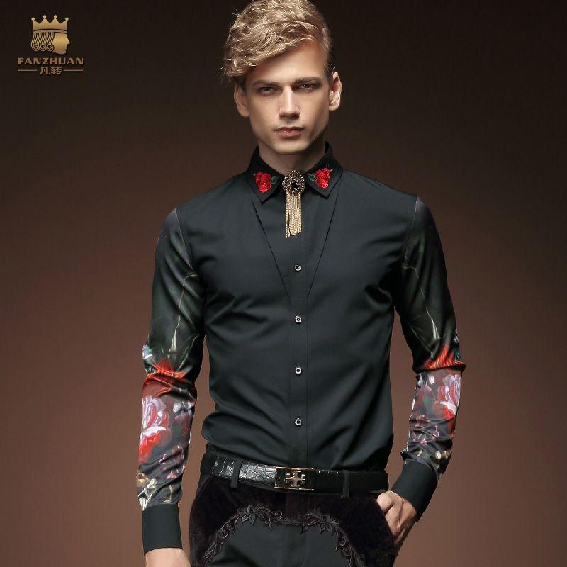 Бесплатная доставка; новые модные повседневные мужские личности мужская Корейская кофта с длинными рукавами черный вышитый цветок 2033 fanzhuan