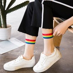 Ins стильные модные прозрачные радужные короткие носки женские летние тонкие безбортные носки Harajuku хипстер искусство низкие милые носки Fmale ...