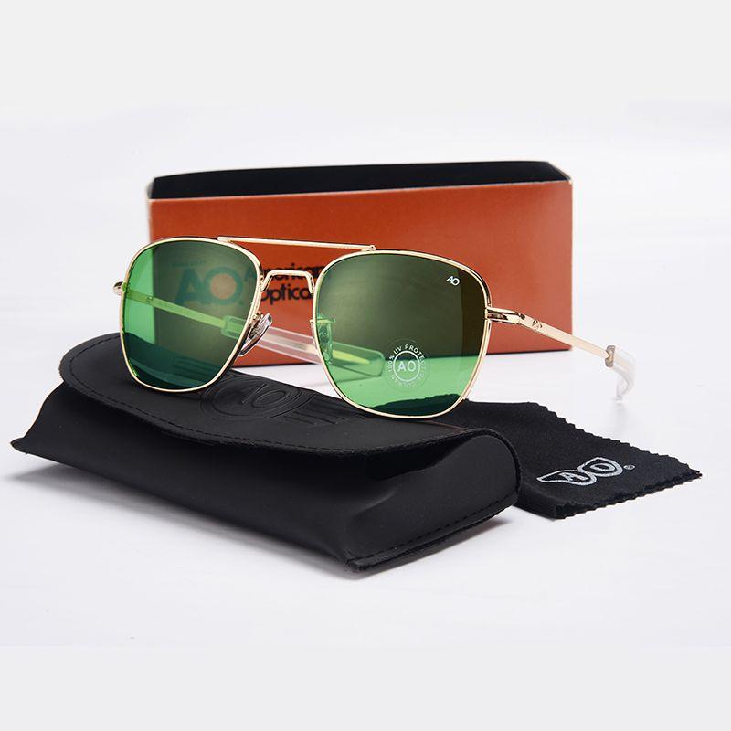 Модные солнцезащитные очки авиаторы Для мужчин Брендовая Дизайнерская обувь АО солнца Стекло es для мужской американский военный оптически...