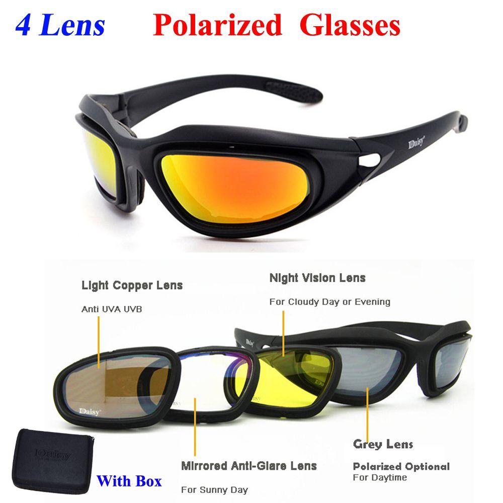 Daisy C5 Polarized Desert Sunglasses 4 Lenses Goggles Tactical Eyewear Eye Protection For Airsoft UV400 Polarized Glasses