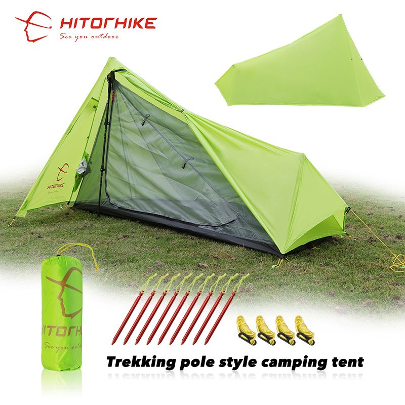 Hitorhike Tent 800g Silicon Coating 2018 New Arrival Ultralight 3 Seasons 1 Person Camping Hiking Tent Easy Tent Set Up By Pole