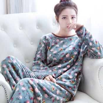Пижамы женские толстые A66 на осень-зиму повседневные женские пижамы хлопок