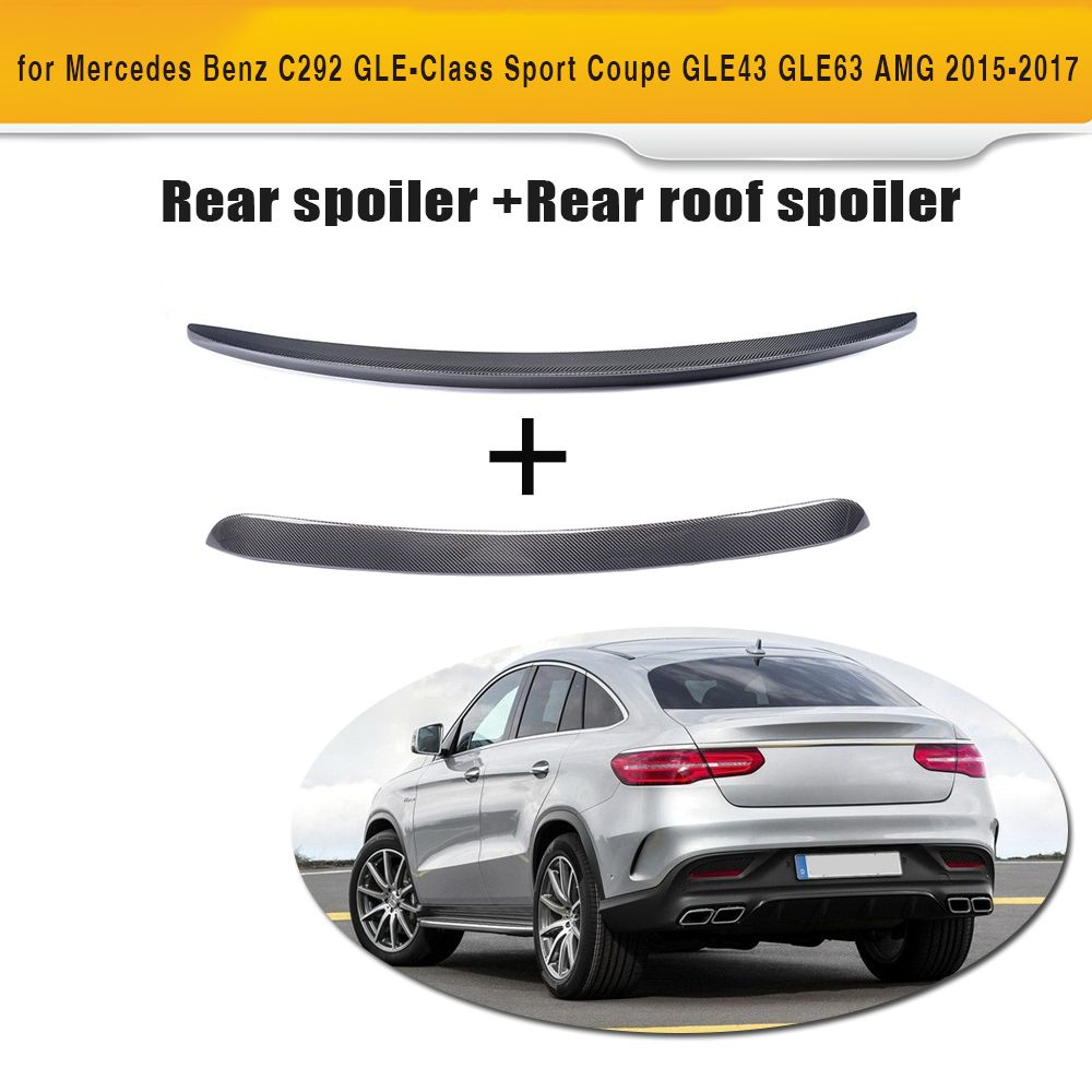 GLE Class Carbon Fiber Rear Roof Wing Trunk Trim Sticker Spoiler for Mercedes Benz C292 Sport GLE43 GLE63 AMG 2015-2017 2PCS