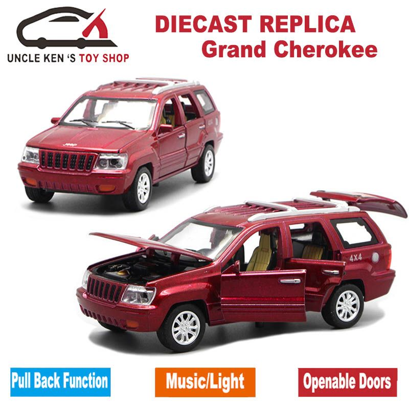 1/32 Diecast Jeep Grand Cherokee Scale Replica Model, Boys Toys Car With 6 Openable Doors/Pull Back Function/Music/Light As Gift
