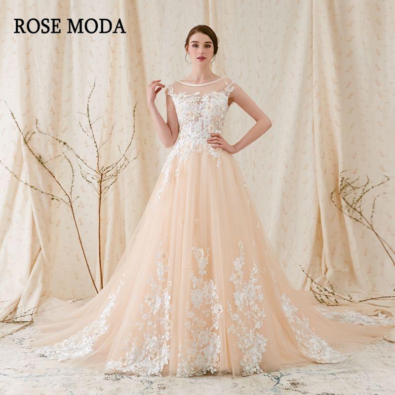 Rose Moda Modern 3D Floral Lace Wedding Dress Low V Back Ivory over Champagne Wedding Dresses 2018