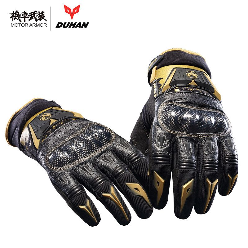 Duhan Motorcycle Riding Leather Carbon Black Gloves Motocross Off-road Racing Touch Screen Guantes Moto for Men and Women Summer