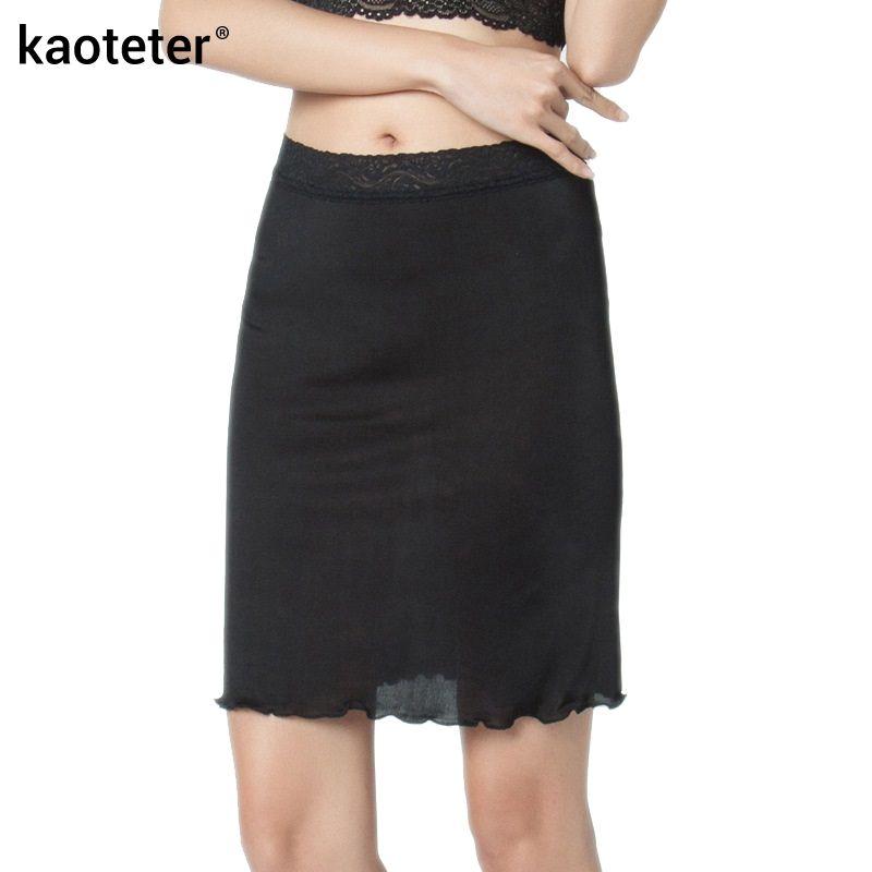 100% Pure Silk Women's Half Slips Women Underskirt Female Sexy Lace Petticoats Waist Elastic Femme Black Solid Slip For Woman