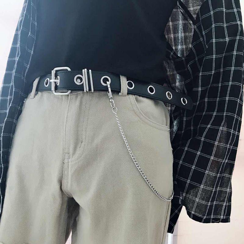 Pu cuir harnais ceintures argent boucle ardillon métal ceinture marron femmes loisirs Jeans chaîne dames nouvelle forme concave ceinture noir