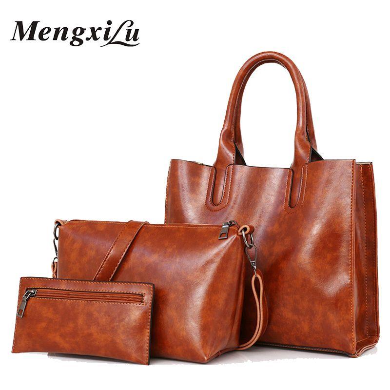 3 Pcs/Set Oil Wax Pu Leather Women Bag High Quality Casual Female Handbags Large Capacity Composite Bag Big Women Shoulder Bags