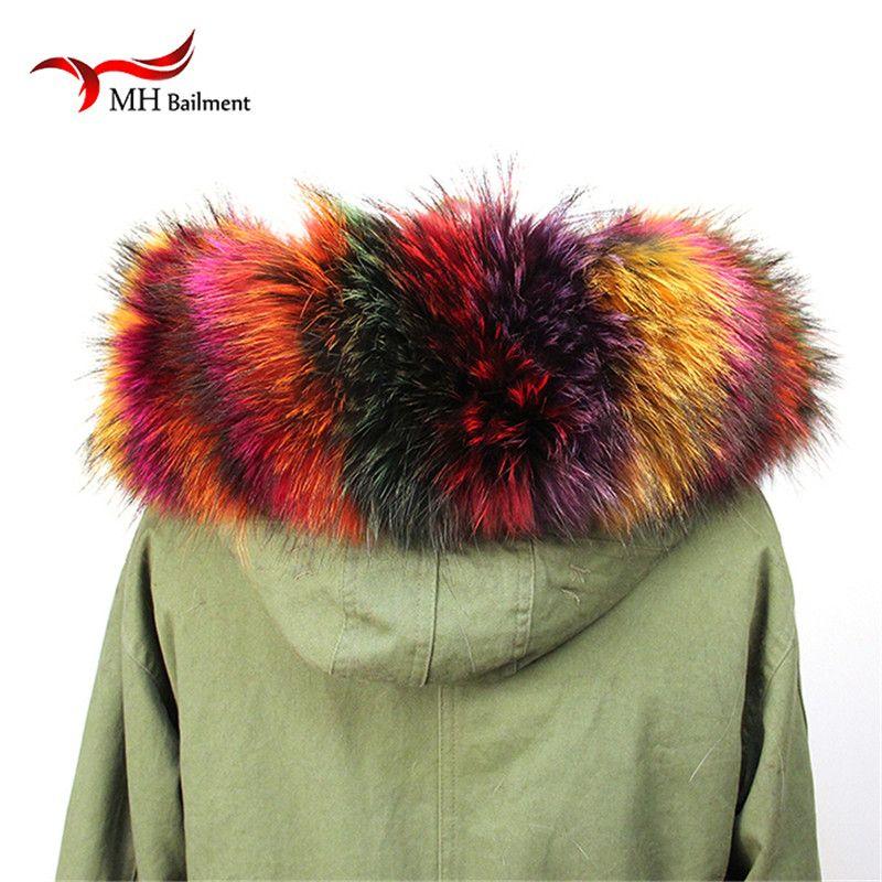 Winter 100% Echt Neue echtpelz Kragen 100% Bunte Echten Waschbären pelz Schal Winter für Frauen heißer Verkauf L #39