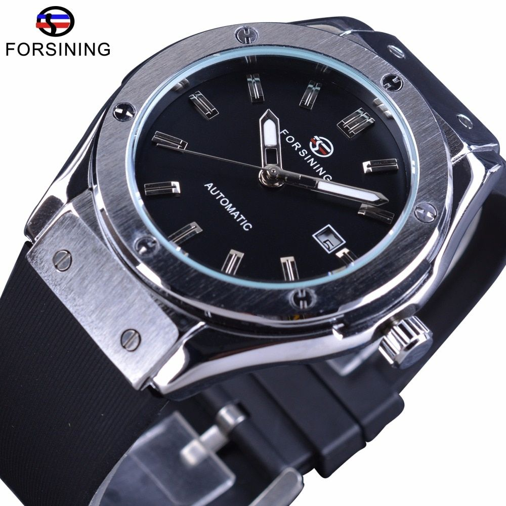 Forsining Calendrier De Luxe Bande de Silicone Horloge Hommes Montres Top Marque De Luxe Militaire Mécanique Automatique Hommes Sport Montre-Bracelet