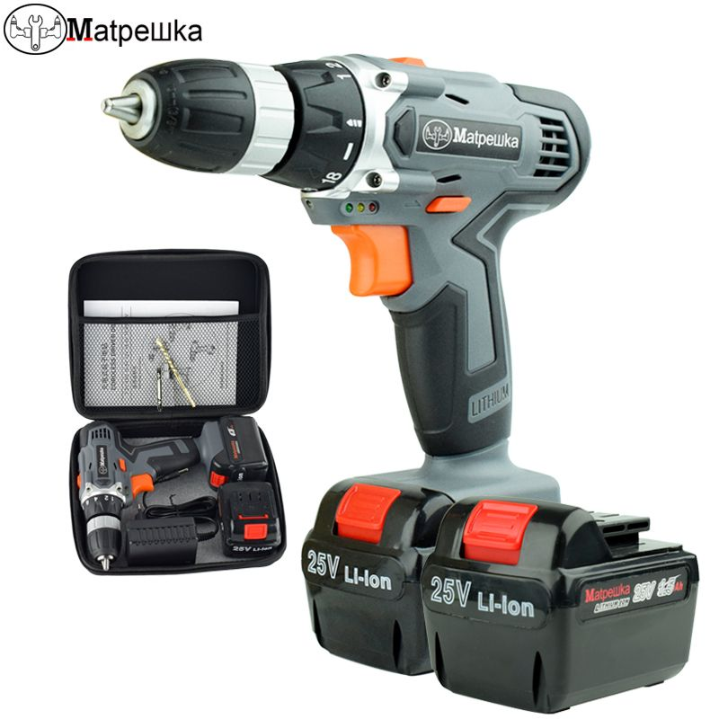 25V New Electric Screwdriver Double Speed Lithium Cordless Drill Multifuctional cordless Power Tools + Cloth Bag Toolkit