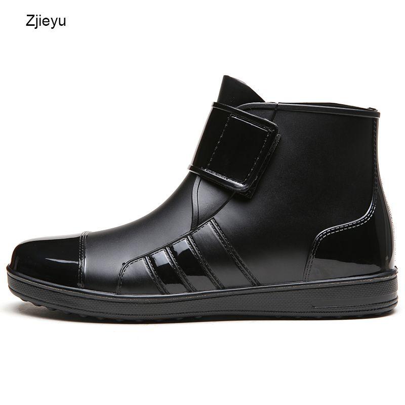 Мужские резиновые сапоги chanclo ПВХ черные короткие Bot рыбацкие сапоги ботинки челси легкий вес галоши резиновые сапоги крюк и петля