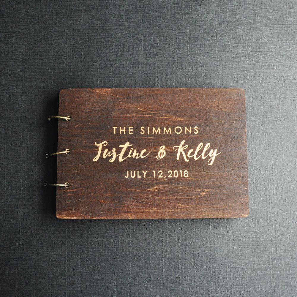 Personalized Guest Book Rustic Wedding Guest Book Wood Custom Engraved Guest Book Wedding Album Gift for Couple