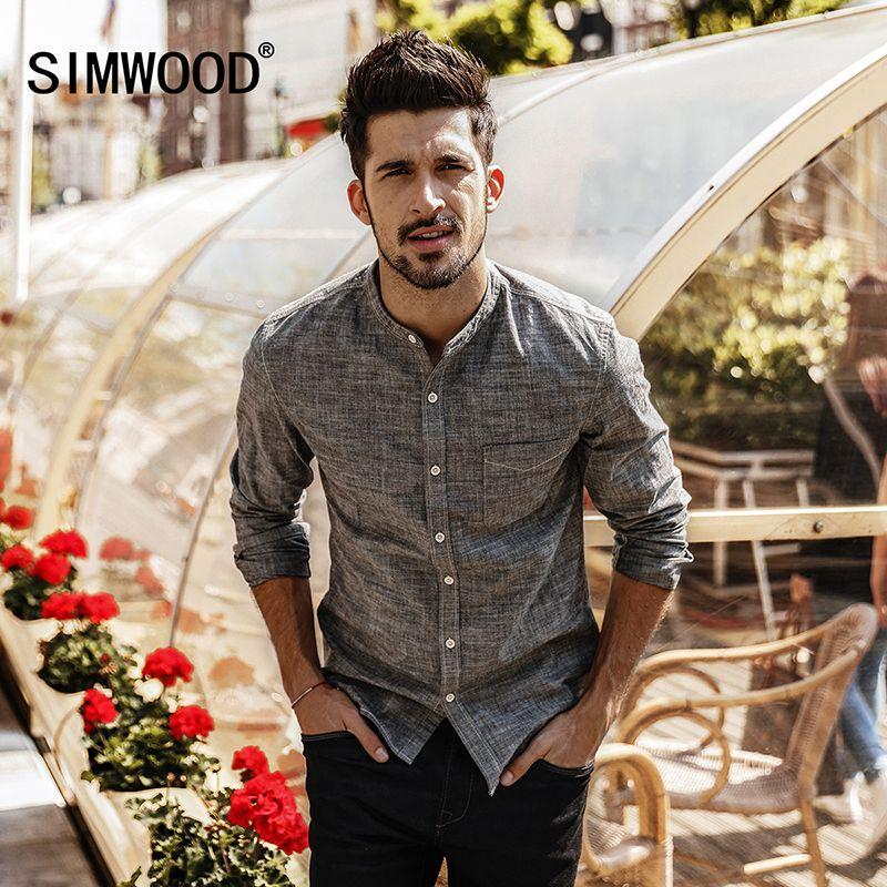 Simwood 2018 Для мужчин рубашка Весна Новый Camisa masculina Рубашки домашние муж. Slim Fit 100% хлопок стенд воротник мужской высокое качество cc017009